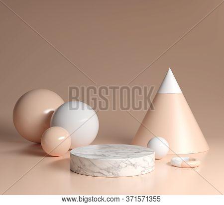 Mock Up Podium White Marble With Primitive Shape Nude Color Background Jpg 3d Render