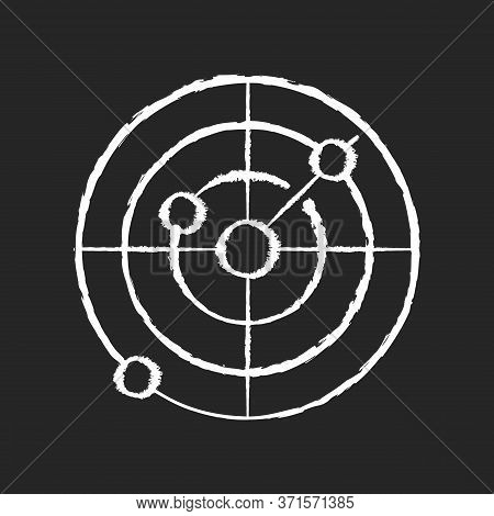 Sonar Chalk White Icon On Black Background. Radio Wave Scanning, Obstacle Detection Technology For N