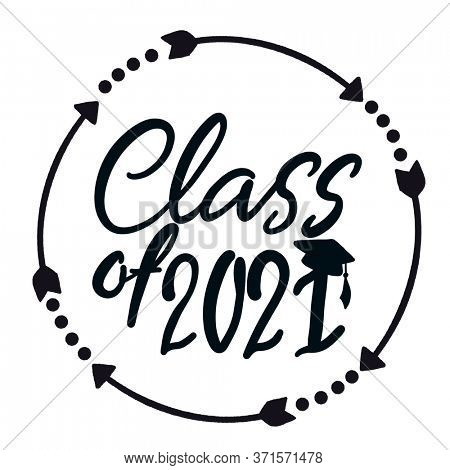 Class of 2021 handwritten with Graduation cap isolated on white. High quality illustration