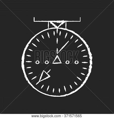 Aeronautical Navigational Radar Chalk White Icon On Black Background. Modern Navigation Technology F