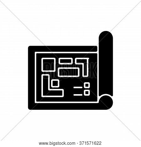 Blueprint Black Glyph Icon. Architect Floor Plan. Construction Project Structure. Schematic Draft An