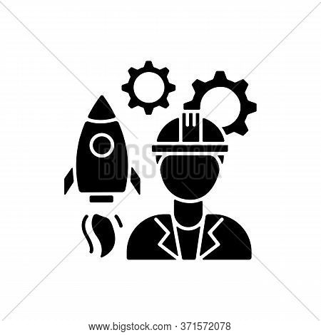 Aerospace Engineer Black Glyph Icon. Space Rocket Building Specialist. Professional To Work On Space