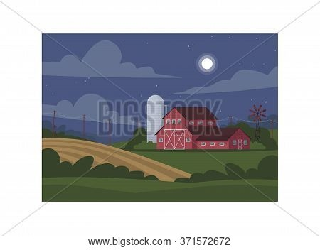 Farmland During Night Semi Flat Vector Illustration. Local Production Of Eco Harvest. Wheat Plantati