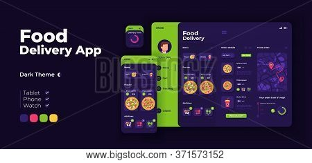 Food Delivery App Screen Vector Adaptive Design Template. Italian Fast Food Ordering Application Nig