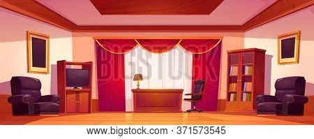 Old Luxury Office Interior With Wooden Furniture, Table, Chairs, Tv And Bookcase. Vector Cartoon Ill