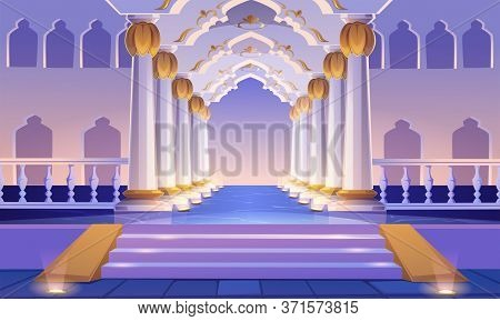 Castle Corridor With Staircase, Columns And Arches. Palace Entrance With Pillars And Illumination. M
