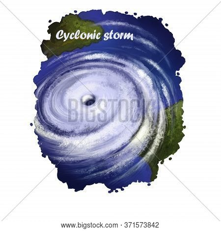 Cyclonic Storm Digital Art Illustration Of Natural Disaster. Strong Wind Artwork With Dramatic Torna