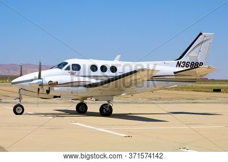 June 10, 2020 In Mojave, Ca:  Twin Engine General Aviation Propeller Aircraft Preparing To Depart Fr