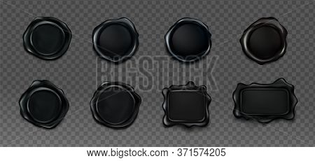 Black Wax Seals For Letter, Certificate Or Guarantee. Vector Realistic Set Of Blank Round And Square