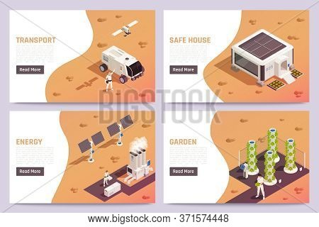 Space Colonization Isometric Horizontal Banners Set With Space Transport Garden House Solar Energy P