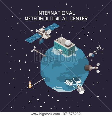 Weather Forecast And Meteorology Isometric Concept With International Station Symbols Vector Illustr