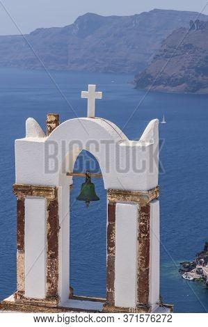 Santorini Church Bells At Oia Village Look Out To Aegean Sea, Santorini, Greece