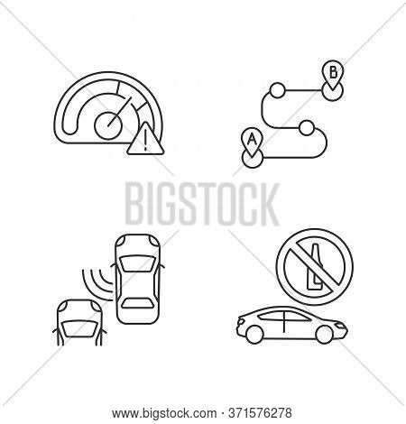 Driving Risks Pixel Perfect Linear Icons Set. Customizable Thin Line Contour Symbols. Speed Limit, B
