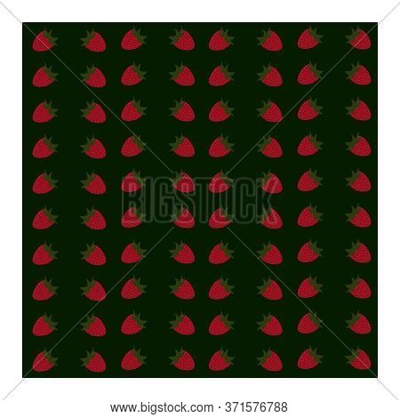 Seamless Pattern With Red Strawberry Berries With Green Leaves. Berry Pattern. Pattern Of Red Strawb