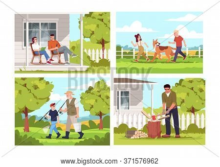 People Relax In Village Semi Flat Vector Illustration Set. Farmer During Daytime Sit On Patio. Child