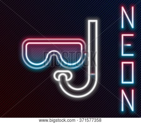 Glowing Neon Line Diving Mask And Snorkel Icon Isolated On Black Background. Extreme Sport. Diving U