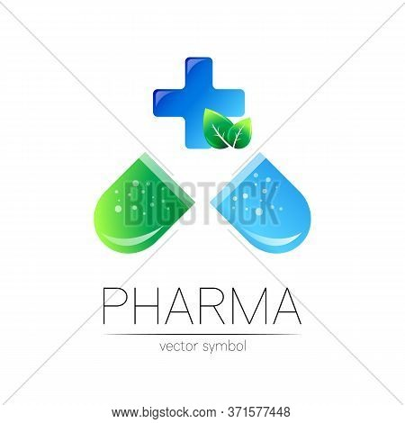 Pharmacy Vector Symbol With Blue Cross For Pharmacist, Pharma Store, Doctor And Medicine. Modern Des