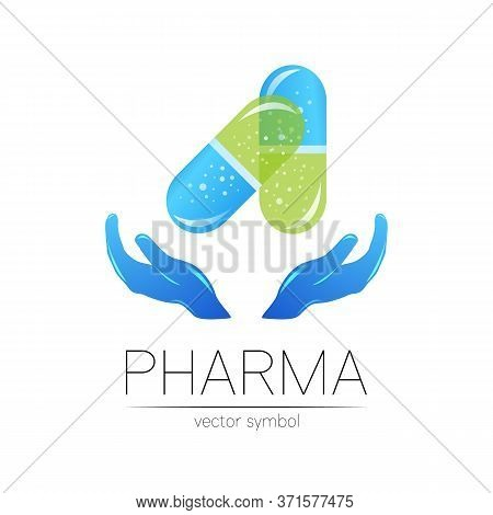 Pharmacy Vector Symbol With Hands For Pharmacist, Pharma Store, Doctor And Medicine. Modern Design V
