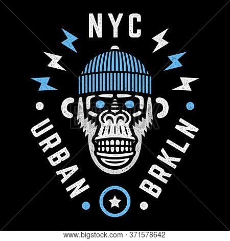 Vector Monkey Head. Retro Wild Hipster. Angry Chimp With Hat. Nyc. Urban. Brooklyn. New York City.