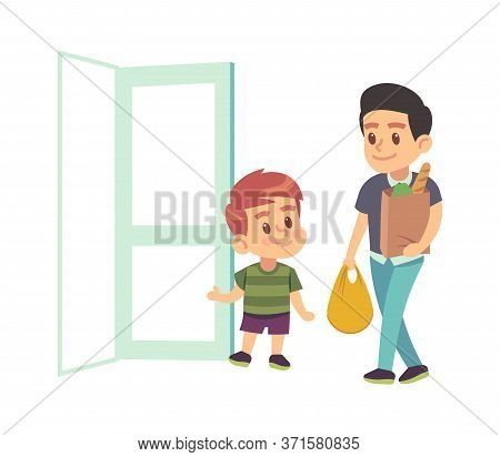 Kids Good Manners. Vector Boy Helping Adult. Polite Kid With Good Manners Opening The Door To Man Wi