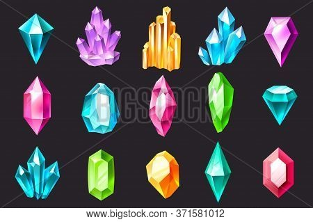 Cartoon Crystals. Colorful Jewelry Gems, Precious Stones, Luxury Crystal Stalagmites And Stalactites