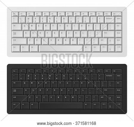 Laptop Keyboard. White And Black Keyboard For Pc, Qwerty Modern Keypad English Alphabet, Button Keyb