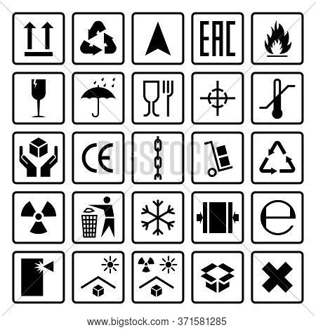 Packaging Symbols. Shipping Cargo Signs Fragile, Frozen Flammable, This Side Up, Handle With Care, I