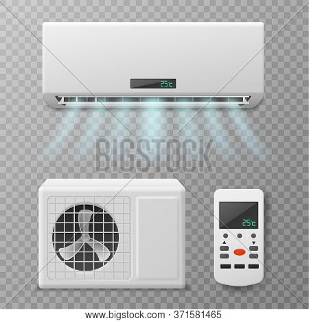 Air Conditioning. Realistic Conditioner With Remote Controller, Hot Or Cold Blowing Air. Fresh Airin