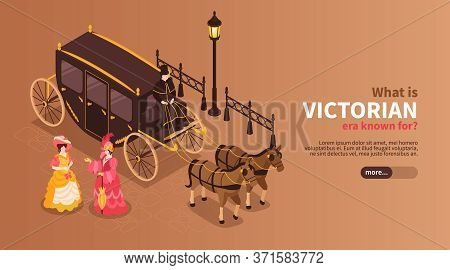 Victorian Era Horizontal Banner With Women Dressed In 19th Century Clothes And Carriage Pulled By Tw