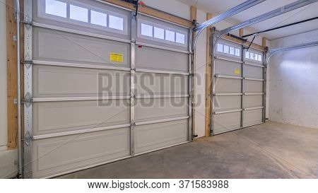 Panorama Frame Inside An Empty Closed Garage Interior Door