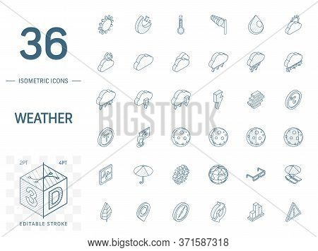 Meteo And Weather Isometric Line Icons. 3d Vector