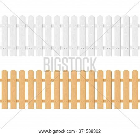 Realistic Detailed 3d Empty White And Brown Wood Fence Set. Vector Illustration Of Wooden Palisade F