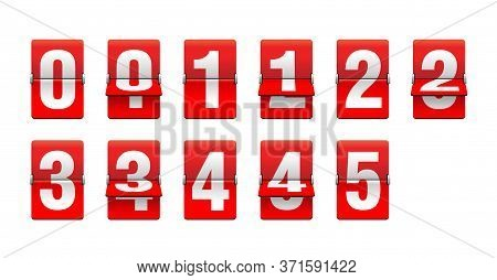 Flip Countdown Clock From 0 To 5 - Red Counter Timer, Time Remaining Count Down Scoreboard In Half F