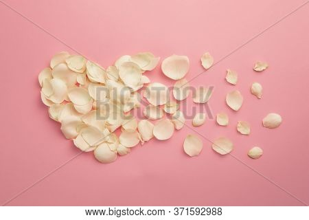 Natural Organic Cosmetic Skincare Concept With Fresh And Delicate Rose Petals In Heart Shape On Powd