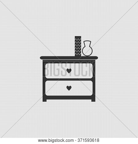 Dresser With Vases Icon Flat. Black Pictogram On Grey Background. Vector Illustration Symbol
