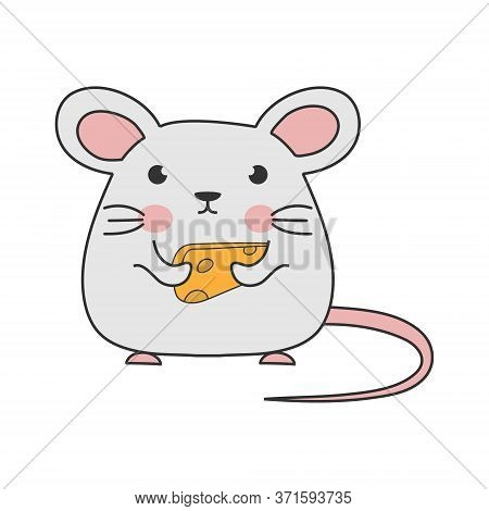 Children's Drawing Of A Mouse With Cheese. Simple Vector Illustration For Theme Design, Isolated On