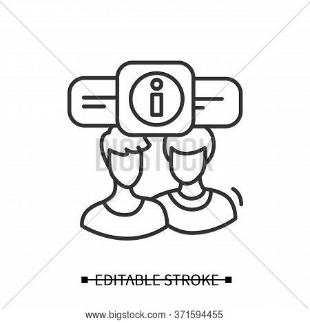 Briefing Icon. Persons Linear Pictogram Avatars Exchange Information. Concept Of Client Communicatio