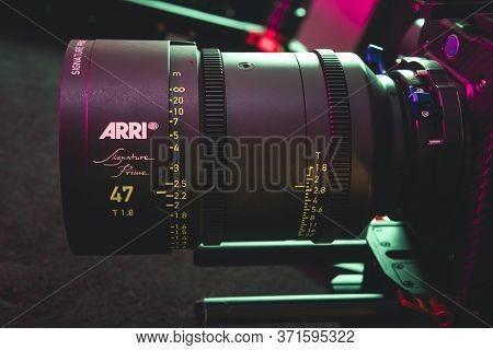 Kyiv, Ukraine - 04.17.2020: Studio Shoot Of Professional Lens Arri Signature Prime, Close-up. Profes