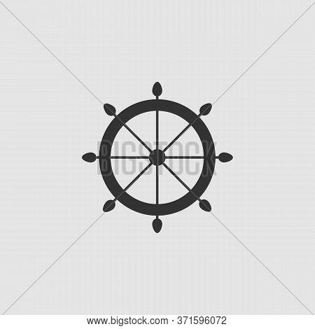 Helm Icon Flat. Black Pictogram On Grey Background. Vector Illustration Symbol