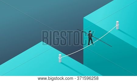 Business Risk And Professional Strategy Concept - Businessman Walks Over Gap As Tightrope Walker - I
