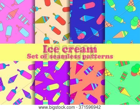 Ice Cream Set Seamless Pattern. Multi-colored Ice Lolly For Brochures, Promotional Material And Wall