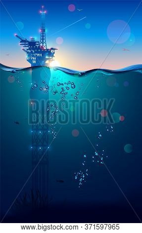 Oil Rig Or Drilling Platform In Sea And Subsea Extractions Gas And Oil From The Ocean Floor. Sunligh