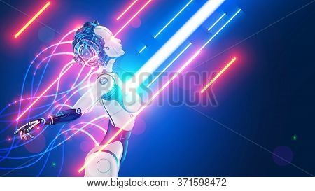 Robot Or Cyborg With Wires Sticking Out Is In The Flow Of Digital Information. Beautiful Female Cybe