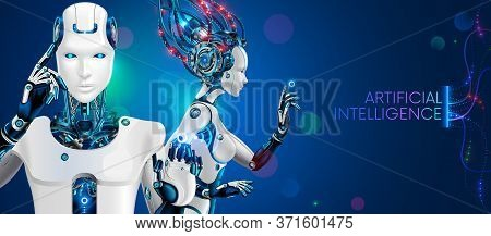 Humanoid Robot Man And Woman Waist With Ai. White Cybernetic Robotic Cyborgs On Blue Background. Fan