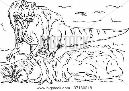vector - dinosaur attacking, prehistoric nature , isolated on background poster