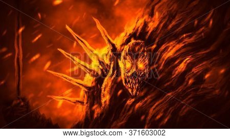 Infernal Demon Knight With Developing Cloak Is Burning In Hell. Illustration In Genre Of Horror Fant