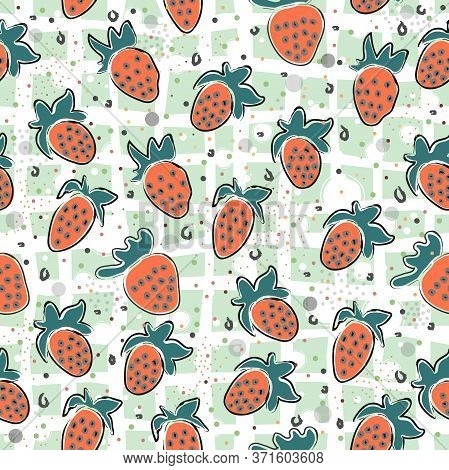 Cute Strawberry Background. Seamless Pattern With Red Strawberries
