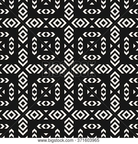 Vector Geometric Seamless Pattern. Tribal Ethnic Motif. Abstract Black And White Texture With Square