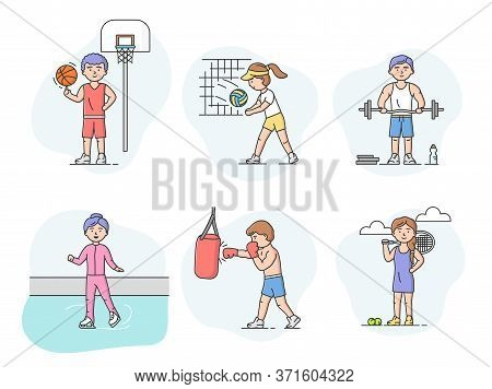 Active Sport And Healthy Lifestyle Concept. Sports And International Competitions. Set Of Characters