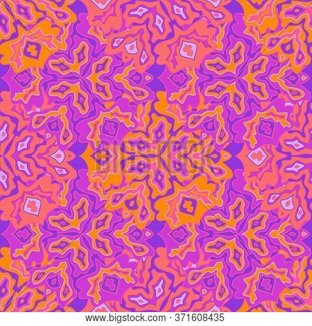 Trendy Floral Seamless Pattern In Bright Summer Positive Colors. Mandala Medallion Fluid Leaves Orna